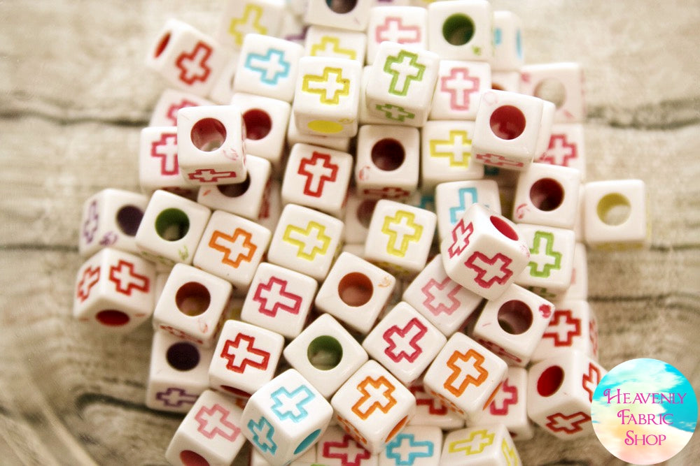 Acrylic White Multi Color Cross Square Beads 100 ct