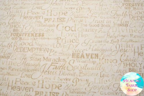 Faith Words Religious Phrases Cream Cotton Fabric