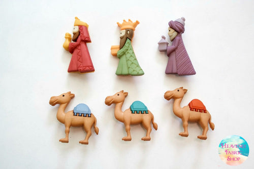 We Three Kings Wise Men Christmas Buttons Set