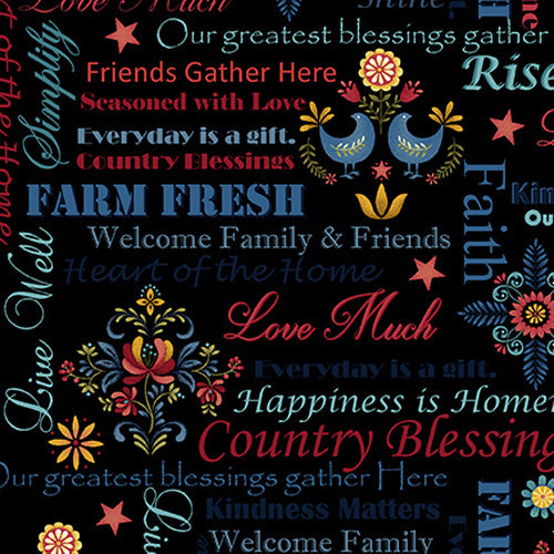 Count Your Blessings Words Black Cotton Fabric