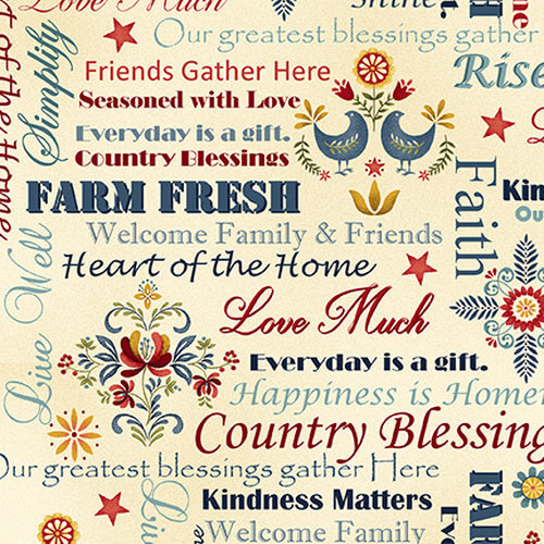 Count Your Blessings Words Cream Cotton Fabric