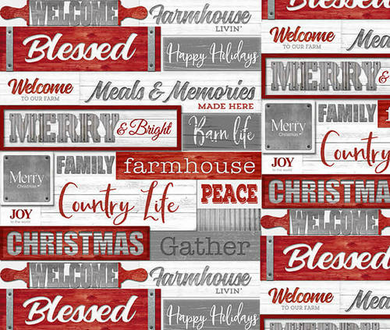 Holiday Homestead Farmhouse Christmas Cotton Fabric