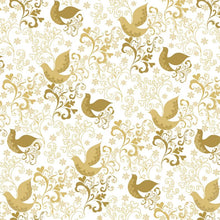 Holiday Village Song Birds Dove Gold Cotton Fabric