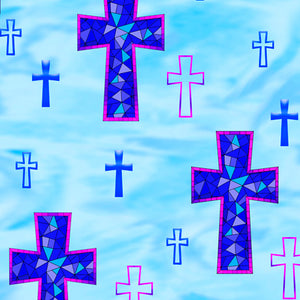 How Sweet The Sound Blue Crosses MINKY Fabric
