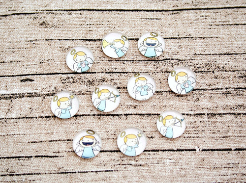 Mini Angel Glass Dome Cabochons 10ct