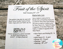 Fruit of the Spirit Quilt Pattern & Fabric Panel Kit