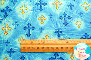 The Lord Is My Shepherd Crosses Blue Cotton Fabric