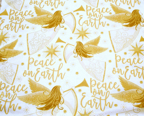 Angels Above Peace on Earth Message Christmas White Cotton Fabric