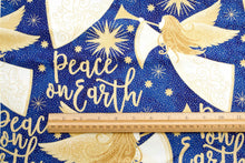 Angels Above Peace on Earth Christmas Message Royal Blue Cotton Fabric