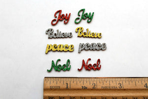 Christmas Words Glitter Wooden Flat Back Charms Set