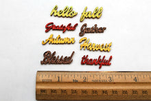 Autumn Words Glitter Wooden Flat Back Charms Set