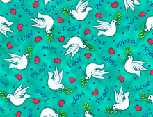 Jesus Loves Me Dove Light Teal Cotton Fabric