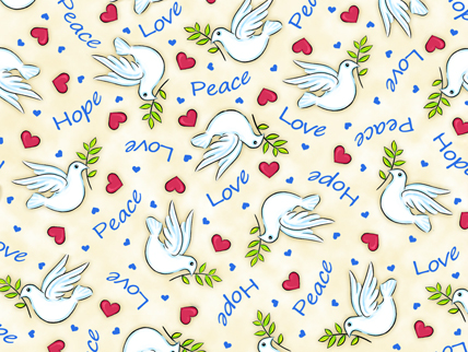Jesus Loves Me Dove Cream Cotton Fabric