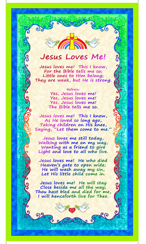 Jesus Loves Me Cotton Fabric Panel