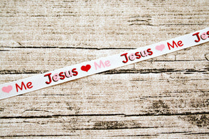 Jesus Loves Me Pink and Red 3/8 inch Grosgrain Ribbon