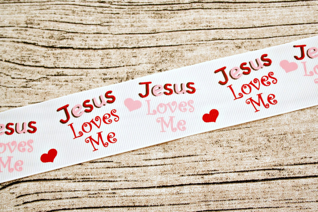 Jesus Loves Me Pink and Red Heart 1.5 inch Grosgrain Ribbon