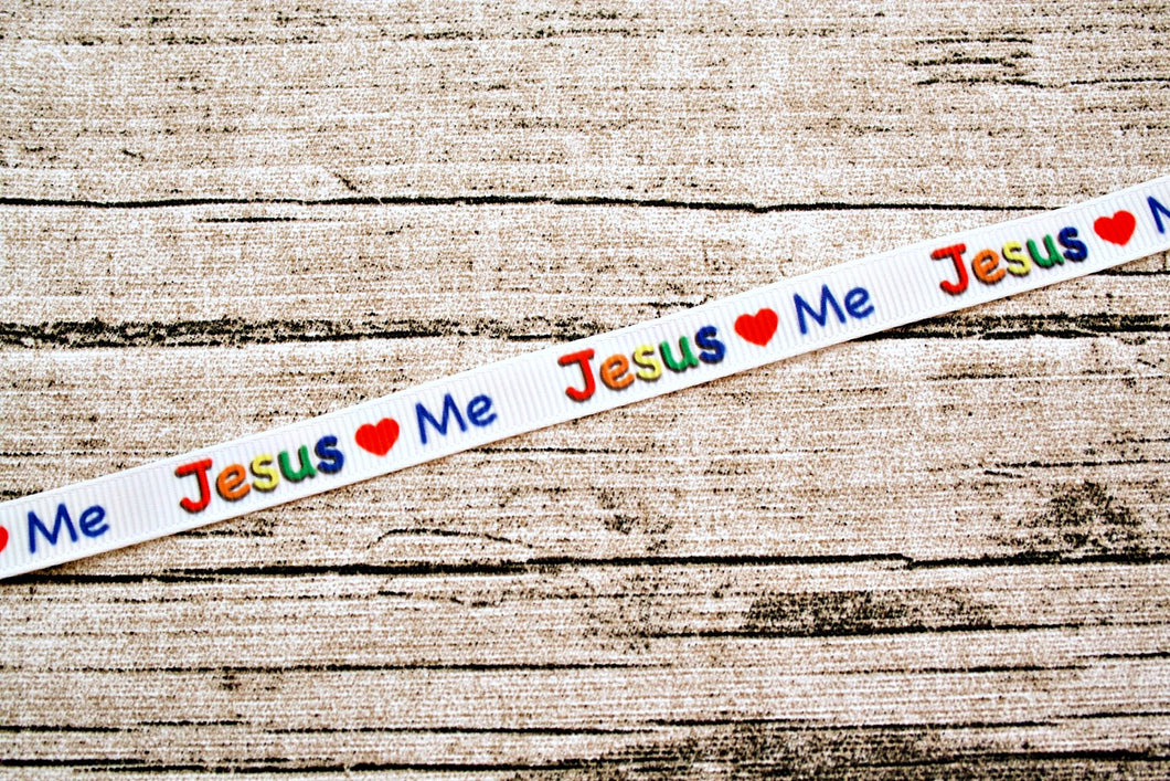 Jesus Loves Me Primary Colors 3/8 inch Grosgrain Ribbon