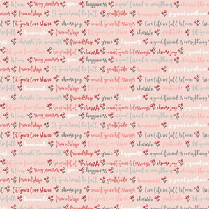 Cherished Moments Kindly Said Pink Cotton Fabric
