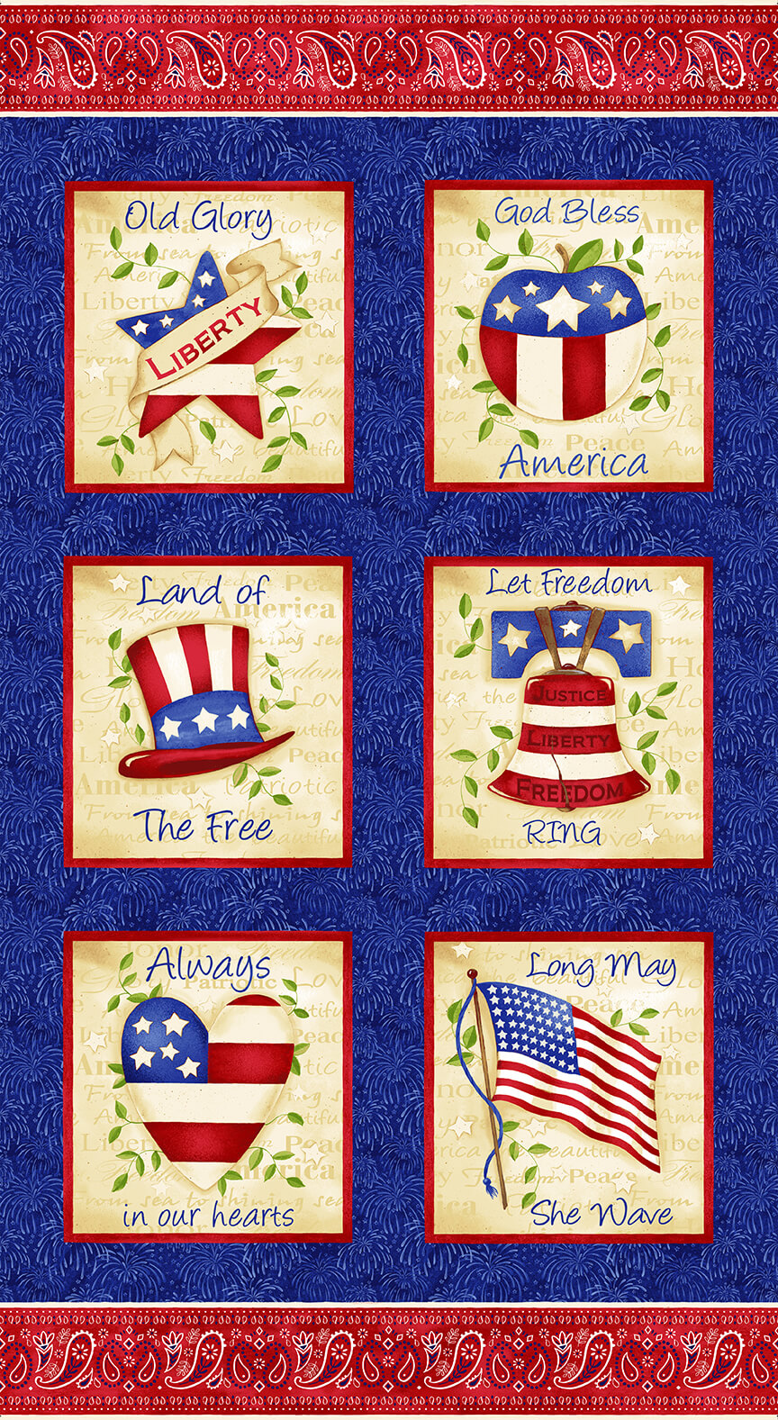 Land of the Free God Bless America Blocks Cotton Fabric Panel