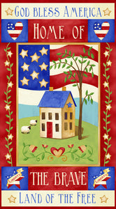 Land of the Free God Bless America Cotton Fabric Panel