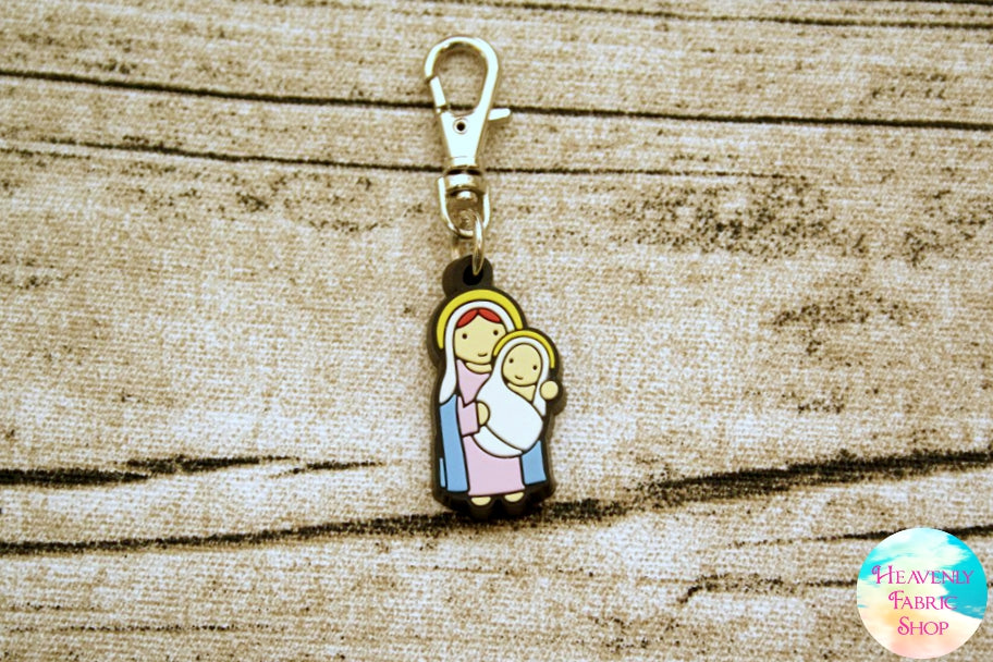 Madonna and Child, Mary & Baby Jesus Rubber Charm