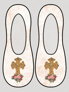 Floral Cross Liner Socks