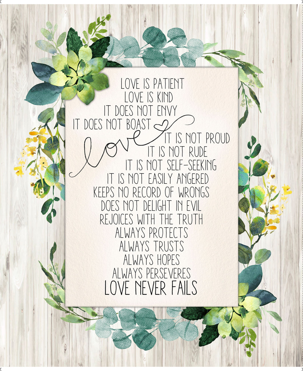 Love Never Fails Cotton Fabric Panel