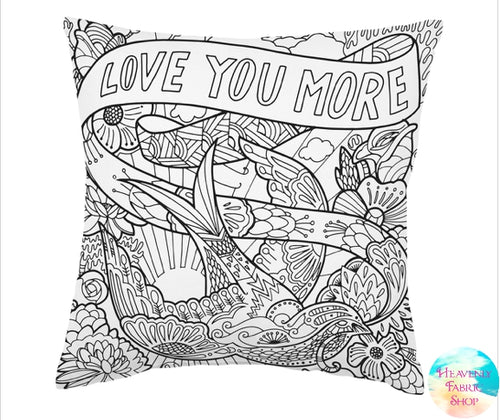 Love You More Dove Coloring Pillow