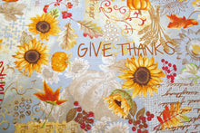 Songbook Harvest Thanksgiving Prayer Blue Cotton Fabric
