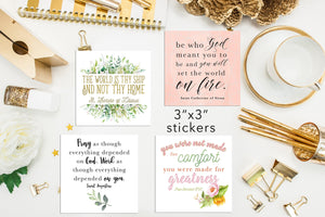 "Set of 9 - 3"" square Inspirational Saintly Quote Stickers Set B"