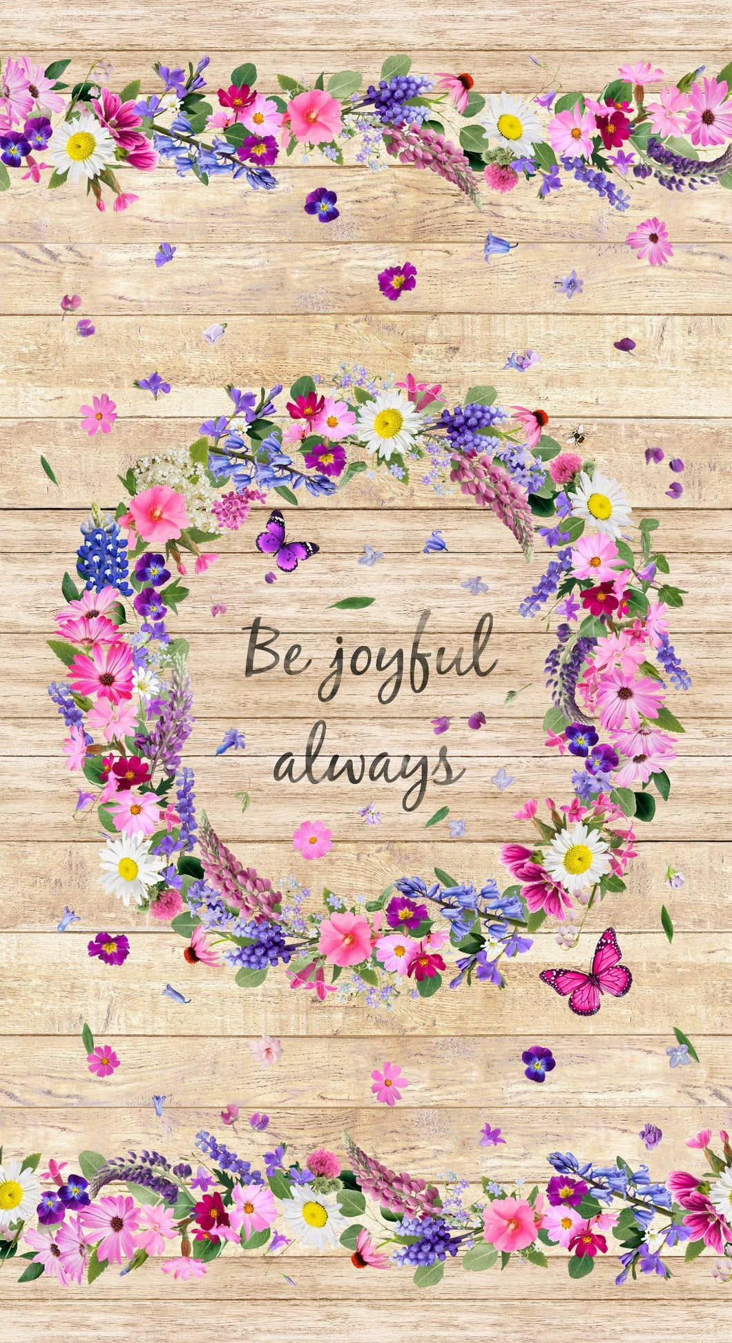 Be Joyful Always Floral Wreath Rustic Wood Shiplap Cotton Fabric Panel
