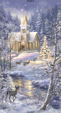 Winter Blessing Church in Snow Cotton Fabric Panel