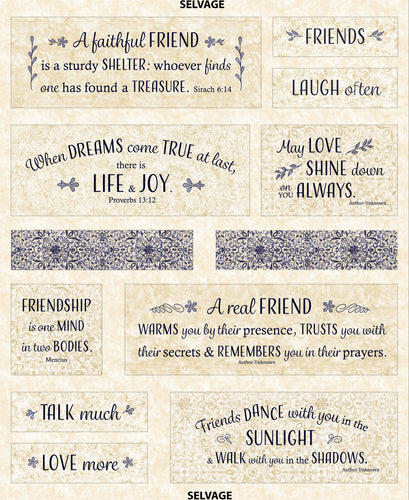 Friendship Inspirational Scripture Cotton Fabric Panel