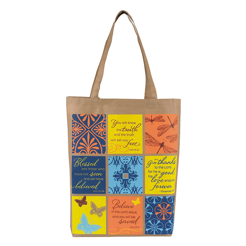Patchwork Promises Bible Verses Recycled Tote Bag