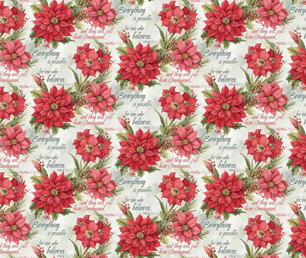 Christmas Poinsettia Scripture Cotton Fabric
