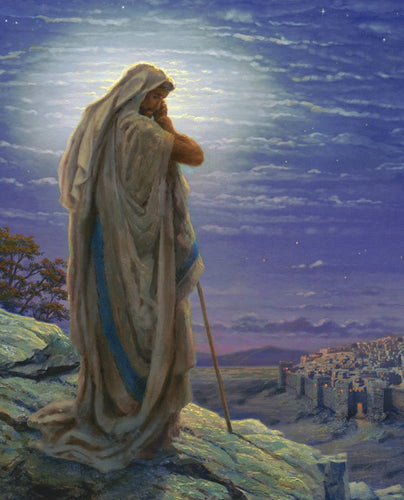 Jesus Thomas Kinkade Prayer for Peace Cotton Fabric Panel