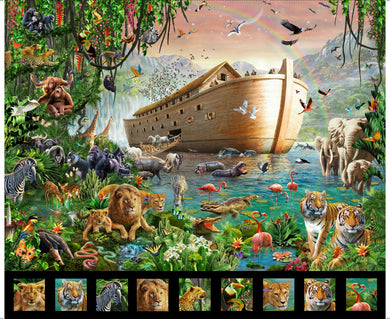 Noah's Ark Extra Large Cotton Fabric Panel