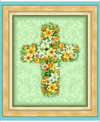 Easter Parade Floral Cross Large Cotton Fabric Panel