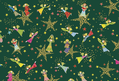 Holiday Minis Metallic Angels and Stars Forest Green Cotton Fabric