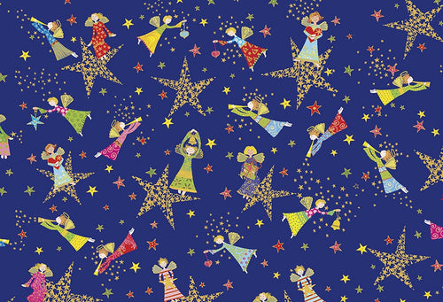 Holiday Minis Metallic Angels and Stars Royal Blue Cotton Fabric