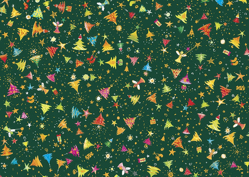 Holiday Minis Metallic Christmas Trees Angels Forest Green Cotton Fabric