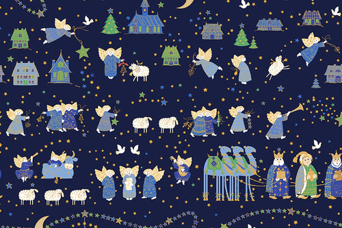 Holiday Minis Metallic Nativity Navy Cotton Fabric