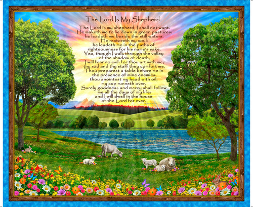 The Lord Is My Shepherd Large Cotton Fabric Panel