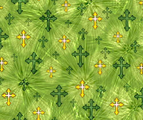 The Lord Is My Shepherd Crosses Green Cotton Fabric