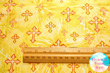 The Lord Is My Shepherd Crosses Yellow Cotton Fabric