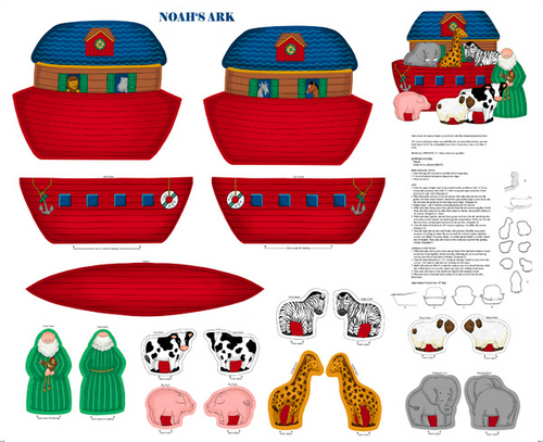 Noah's Ark Soft Toy Set Cotton Fabric Panel