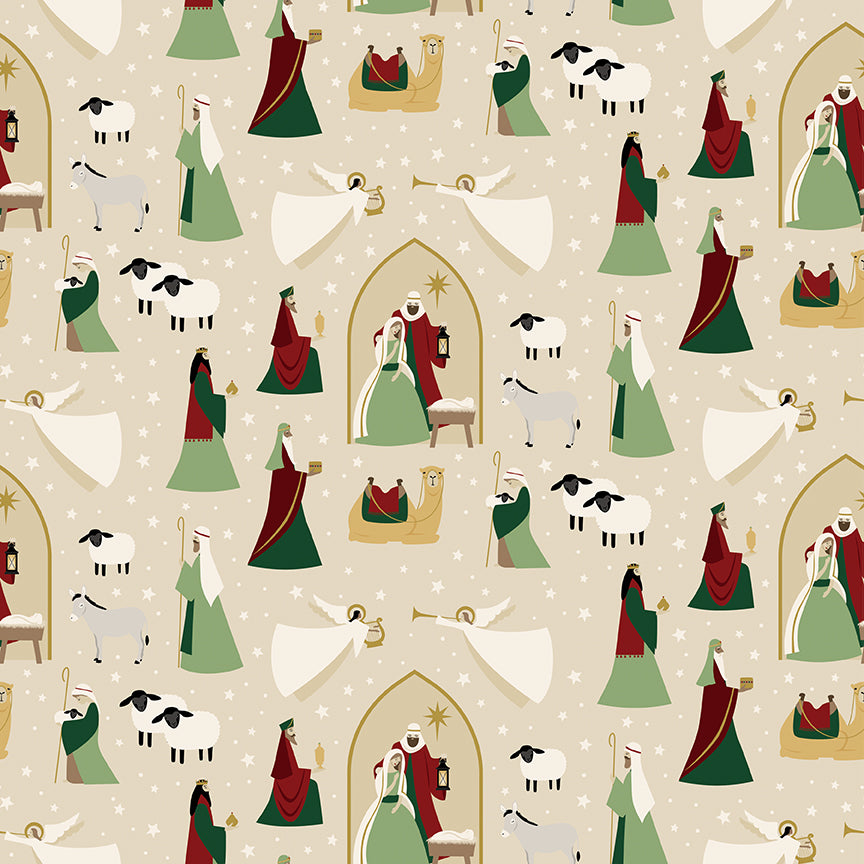 Oh Holy Night Nativity Linen Gold Metallic Cotton Fabric