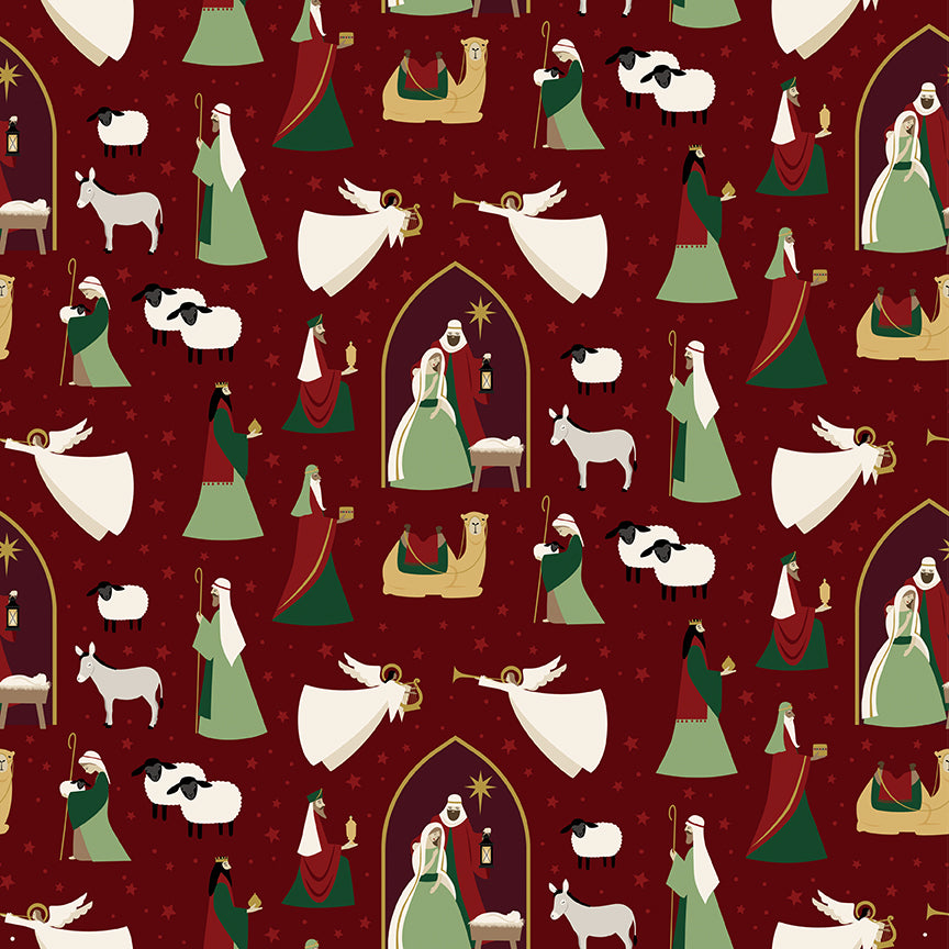 Oh Holy Night Nativity Mulberry Gold Metallic Cotton Fabric