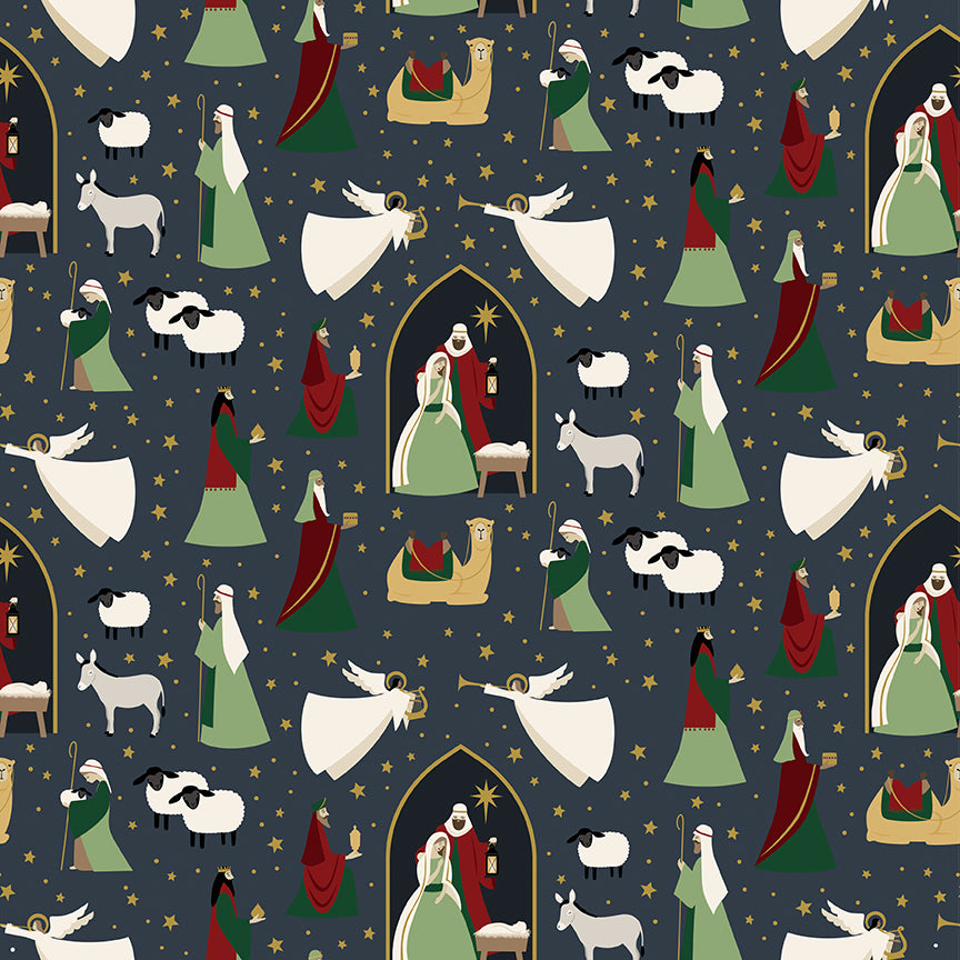 Oh Holy Night Nativity Navy Gold Metallic Cotton Fabric