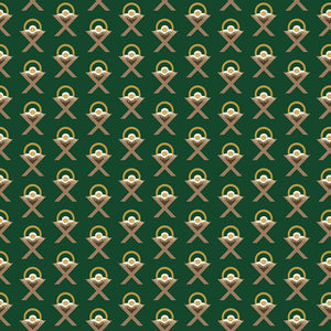 Oh Holy Night Manger Green Gold Metallic Cotton Fabric